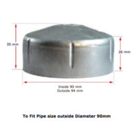 Galvabond Steel Round End Cap for tube 90mm (80NB)