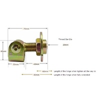 Swing Gate Hinge Adjustable 20mm pin with Rotating - pair