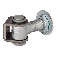 Galvanised Adjustable hinge 20mm pin with Rotating 150mm long neck - pair