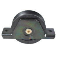 Sliding Gate Wheel 90mm Black Nylon with steel  bracket